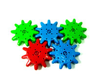 Colorful operative mechanical toy wheel. Isolated operative mechanical toy on white background Stock Photography