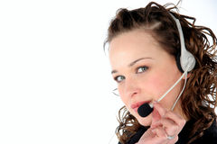 Operator. Support phone operator in headset, isolated on white Stock Images