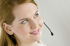 Operator. Portrait of smiling young operator Royalty Free Stock Photography