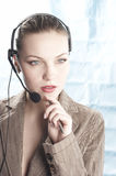 The operator. Girl the operator during job Royalty Free Stock Photo
