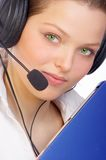 Operator. Beautiful young woman with a headset stock photos