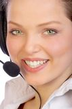 Operator. Attractive woman with a headset royalty free stock photo
