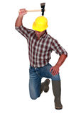 Operator with ax in hand Royalty Free Stock Photo