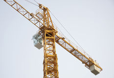 Operator cabin in a highrise crane at work Stock Images