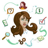 Operator Of Call Center Composition. Including young women with headset and work process vector illustration Stock Image