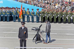Operator on ceremony of the opening military parade on annual Vi Stock Photos