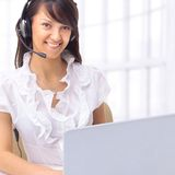 The operator of the company.communicate Stock Photography
