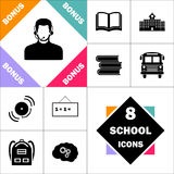 Operator computer symbol. Operator Icon and Set Perfect Back to School pictogram. Contains such Icons as Schoolbook, School  Building, School Bus, Textbooks Royalty Free Stock Images