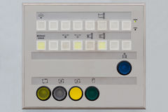 Operator control panel. For remote control of machinery including push button switches with illuminated pilot light and indicator lights Stock Photography