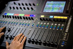 The operator of the control panel in the studio. Recording Royalty Free Stock Images