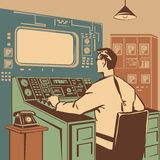 Operator. Controlling the correct execution of the process retro  illustration Stock Images