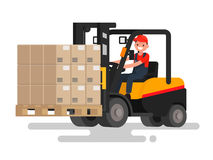 Operator controls the front loader that carries goods. Work on t Royalty Free Stock Image