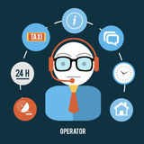 Operator with different item icons Royalty Free Stock Photos