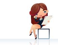 Operator dziewczyna z telefonem ilustracja wektor