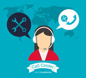 Operator earphones call center world support. Vector illustration eps 10 Stock Photography