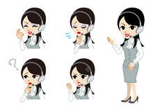Operator full length and Facial expression set Stock Images