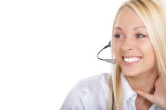 Operator girl. The girl the operator in headphones with a microphone Royalty Free Stock Image