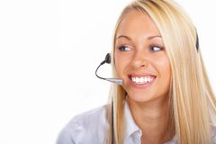The operator girl. The girl the operator with blue eyes Royalty Free Stock Photo