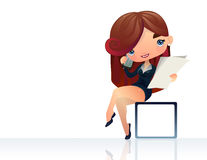 Operator girl with phone. Young operator girl with phone, illustration, isolated Royalty Free Stock Photo