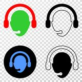 Operator Head Vector EPS Icon with Contour Version. Operator head EPS vector pictograph with contour, black and colored versions. Illustration style is flat stock illustration
