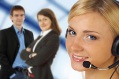 Operator with headset. Close-up of operator with headset Royalty Free Stock Photo