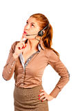 Operator with headset advising client Stock Images