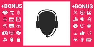 Operator in headset. Call center icon vector illustration