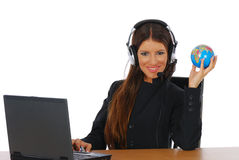 Operator with headset and globe Stock Image