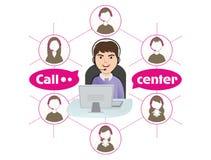 Call center operator stock illustration