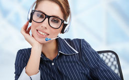 Operator in headset at workplace Stock Image