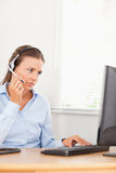 An operator helps a customer Stock Photos