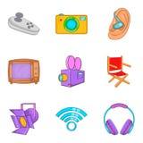 Operator icons set, cartoon style. Operator icons set. Cartoon set of 9 operator vector icons for web isolated on white background Stock Photography