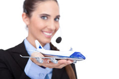 Operator with information about flying plan Stock Image