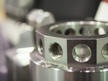 Operator inspection dimension of cnc turning parts Stock Photos