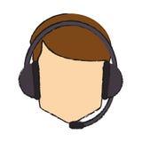 Operator man with headphone design Stock Image