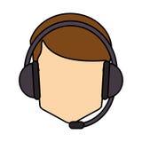 Operator man with headphone design Royalty Free Stock Photo