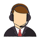 Operator man with headphone design Stock Photo