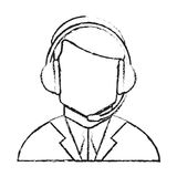 Operator man with headphone design Stock Photos
