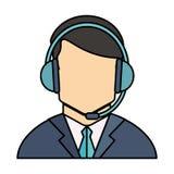 Operator man with headphone design Royalty Free Stock Image