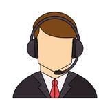 Operator man with headphone design Royalty Free Stock Photos