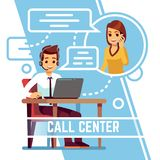 Operator man talking with happy smiling client on phone. Supporter in headset consulting customer. Cartoon vector. Illustration. Service for customer, support stock illustration