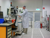 Operator of the measuring station. In a clean room Stock Photo