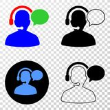 Operator Message Vector EPS Icon with Contour Version. Operator message EPS vector icon with contour, black and colored versions. Illustration style is flat stock illustration