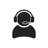 Operator with microphone vector icon. Operator in call center illustration Stock Image