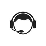 Operator with microphone vector icon. Operator in call center illustration Royalty Free Stock Photography