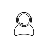 Operator with microphone vector icon. Operator in call center illustration Stock Photography