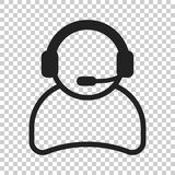 Operator with microphone vector icon. Operator in call center il. Lustration Royalty Free Stock Images