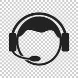 Operator with microphone vector icon. Operator in call center il. Lustration Royalty Free Stock Image