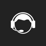 Operator with microphone vector icon. Operator in call center illustration.  Stock Image