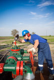 Operator in the oil and gas field Stock Photo